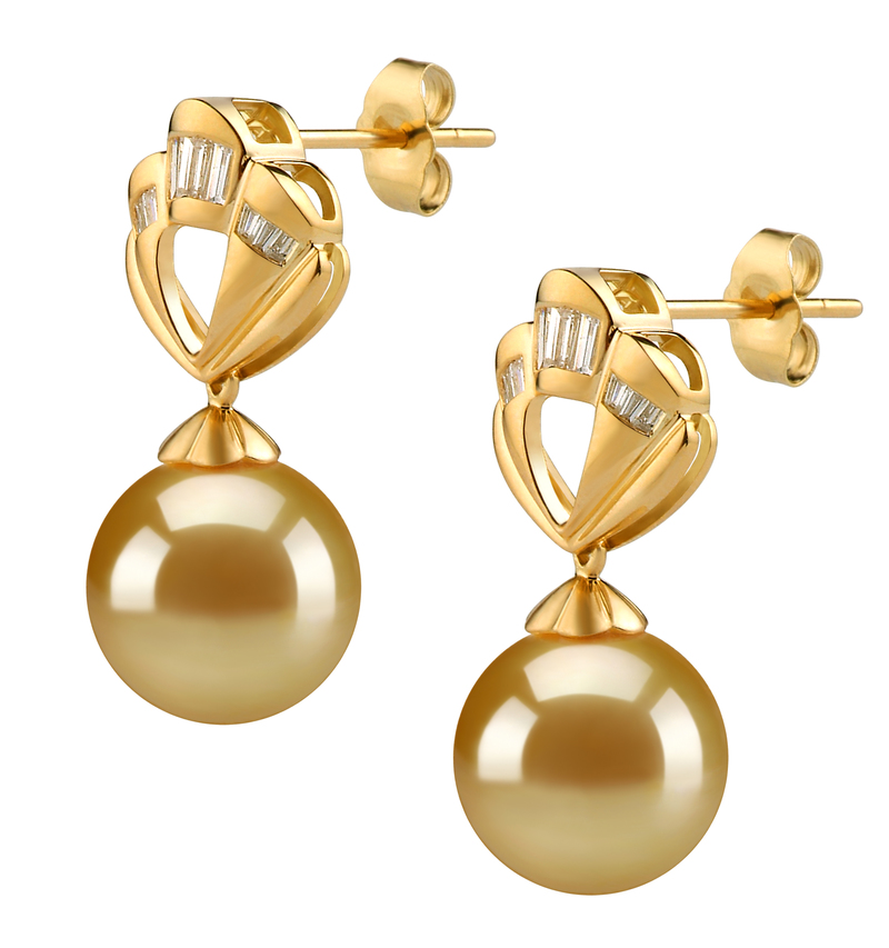10-11mm AAA Quality South Sea Cultured Pearl Earring Pair in Helena Gold