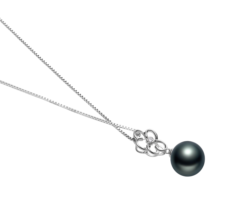 10-11mm AAA Quality Tahitian Cultured Pearl Pendant in Hilary Black