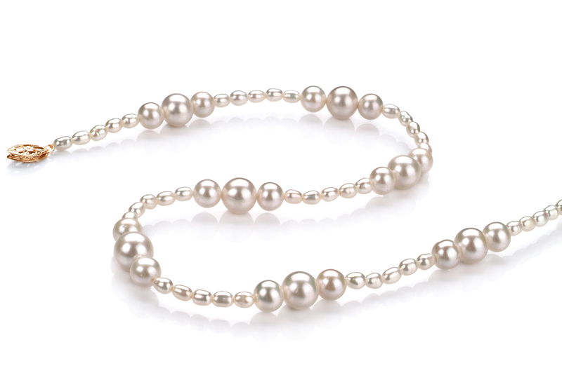 3-8mm A Quality Freshwater Cultured Pearl Necklace in Ida White