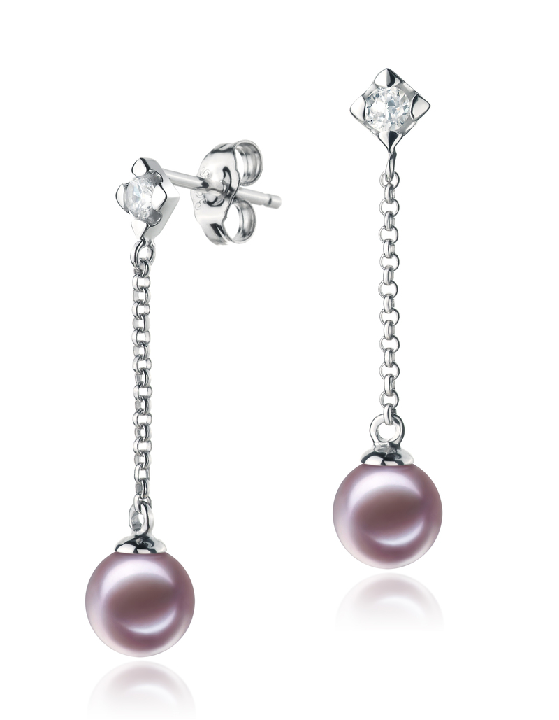6-7mm AAAA Quality Freshwater Cultured Pearl Earring Pair in Ingrid Lavender
