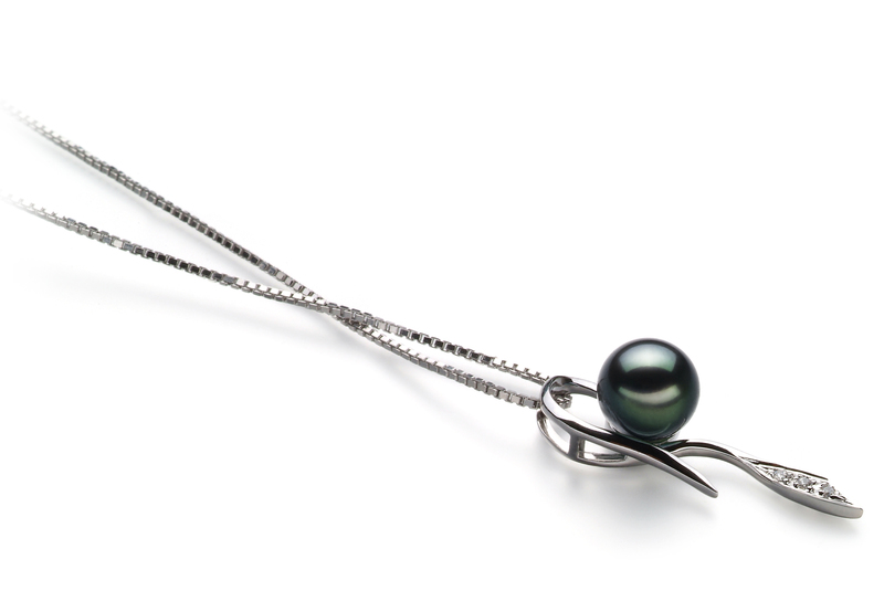 7-8mm AA Quality Japanese Akoya Cultured Pearl Pendant in Jennifer Black