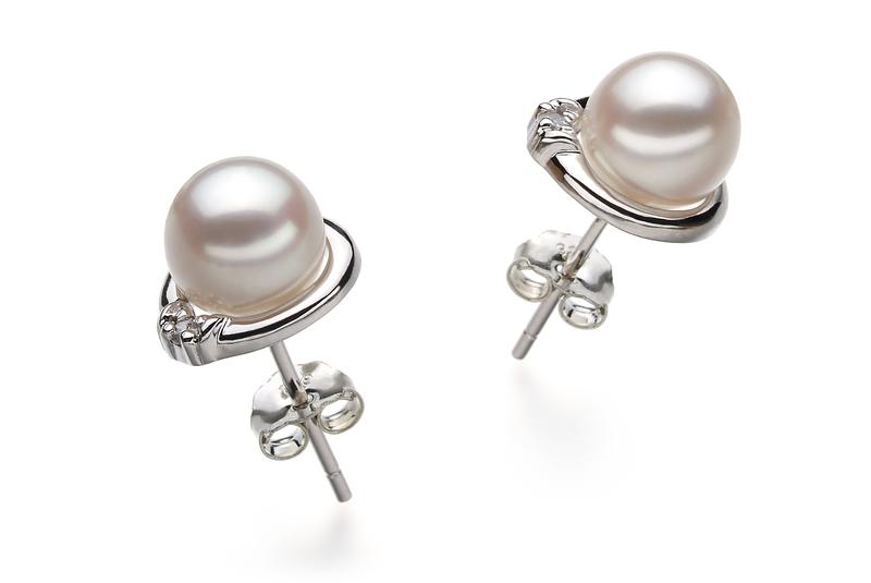 6-7mm AA Quality Japanese Akoya Cultured Pearl Earring Pair in Jocelyn White