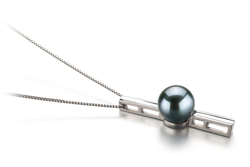 7-8mm AA Quality Japanese Akoya Cultured Pearl Pendant in Johana Black