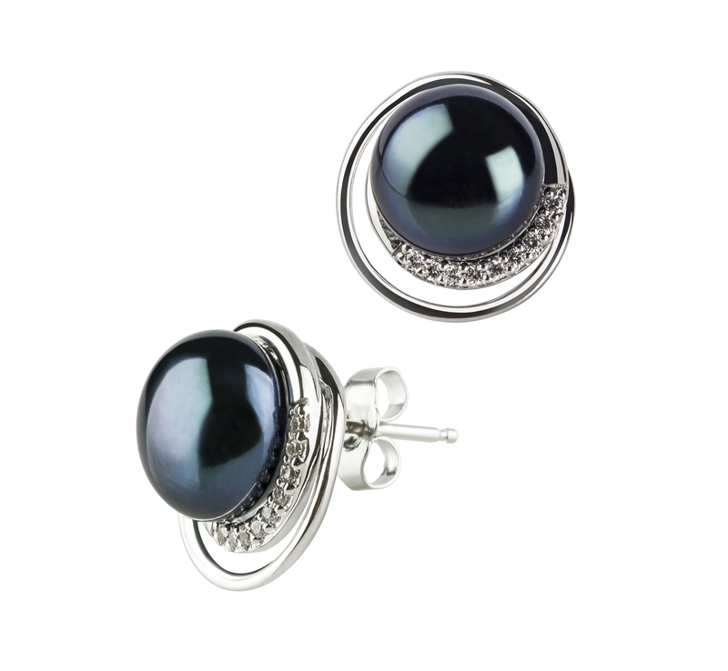 9-10mm AA Quality Freshwater Cultured Pearl Earring Pair in Kelly Black