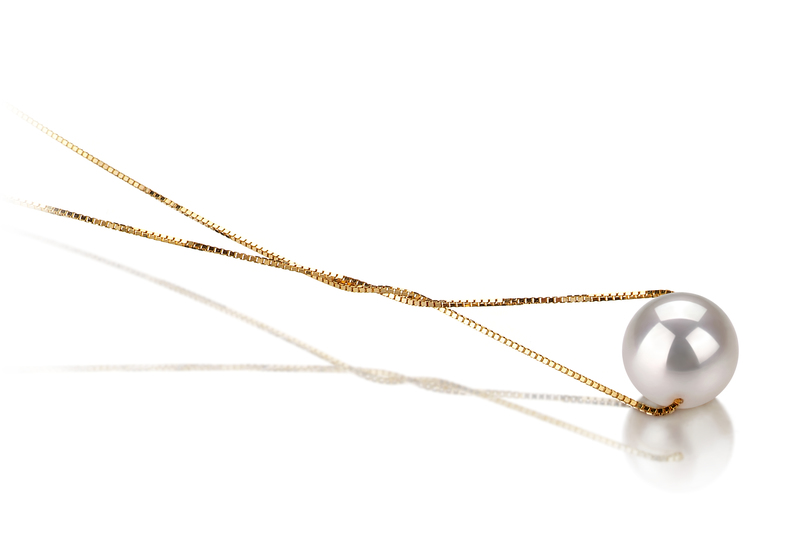 8-9mm AAA Quality Japanese Akoya Cultured Pearl Pendant in Kristine White