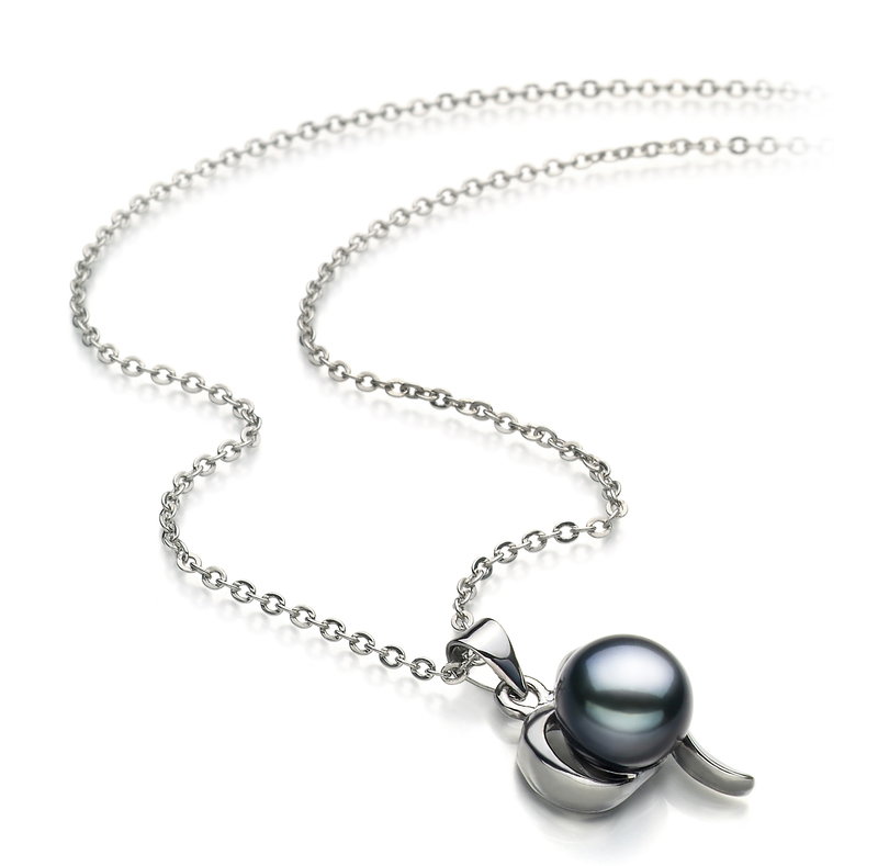 Leeza Black 9-10mm AA Quality Freshwater White Bronze Pearl Pendant