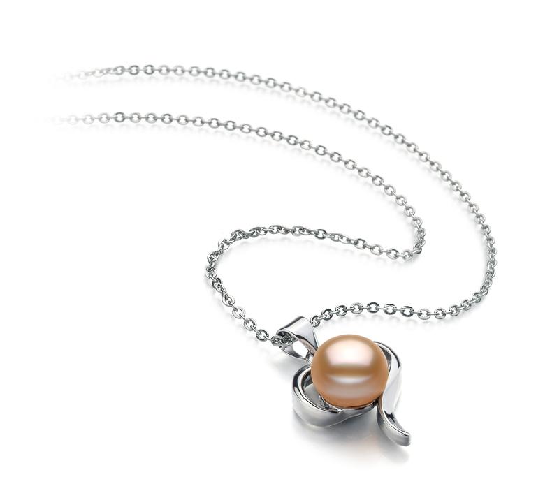 Leeza Pink 9-10mm AA Quality Freshwater White Bronze Pearl Pendant