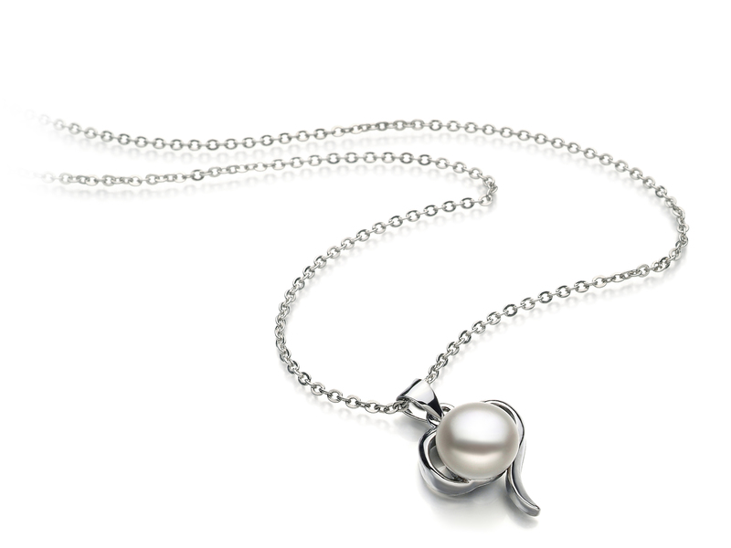 Leeza White 9-10mm AA Quality Freshwater White Bronze Pearl Pendant