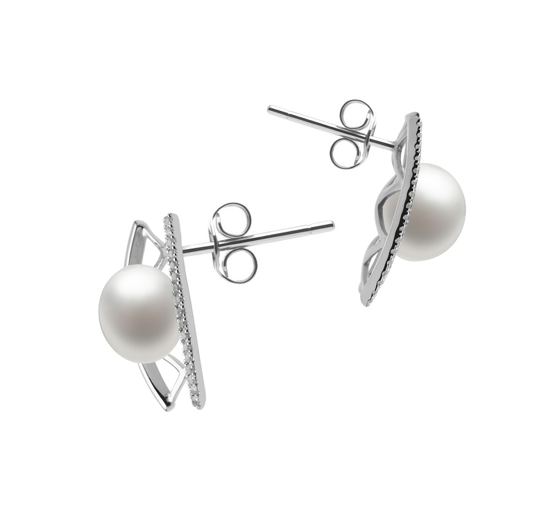 8-9mm AAA Quality Freshwater Cultured Pearl Earring Pair in Odelia White