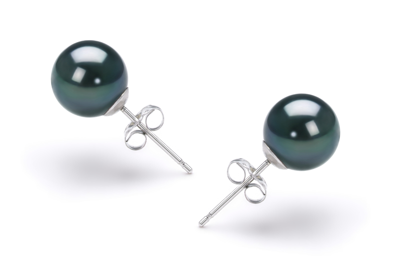 7.5-8mm AAA Quality Japanese Akoya Cultured Pearl Earring Pair in Black