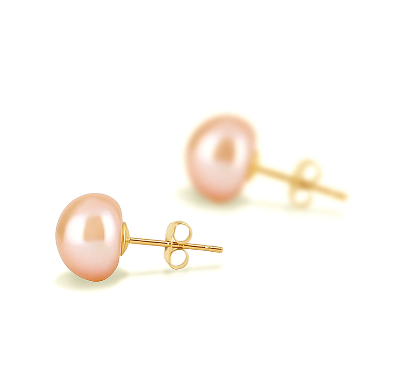 8-9mm AAA Quality Freshwater Cultured Pearl Earring Pair in Pink