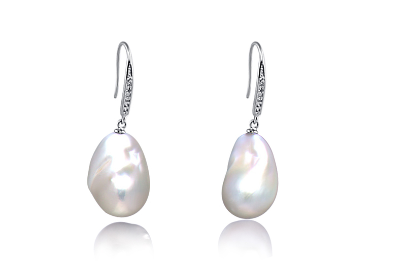 15-16mm AA+ Quality Freshwater - Edison Cultured Pearl Earring Pair in White
