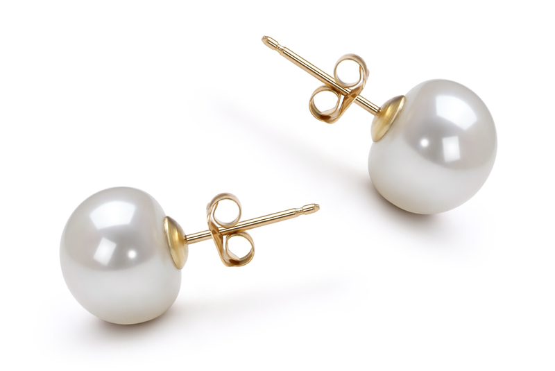 9-10mm AAA Quality Freshwater Cultured Pearl Earring Pair in White