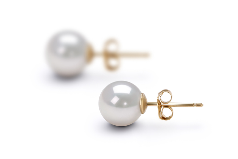 7.5-8mm AA Quality Japanese Akoya Cultured Pearl Earring Pair in White