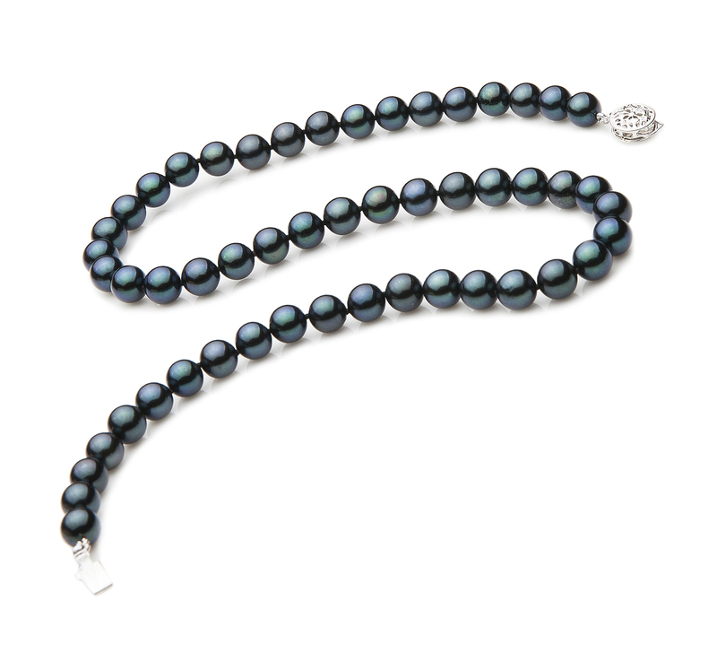 7-7.5mm AA Quality Japanese Akoya Cultured Pearl Necklace in Black
