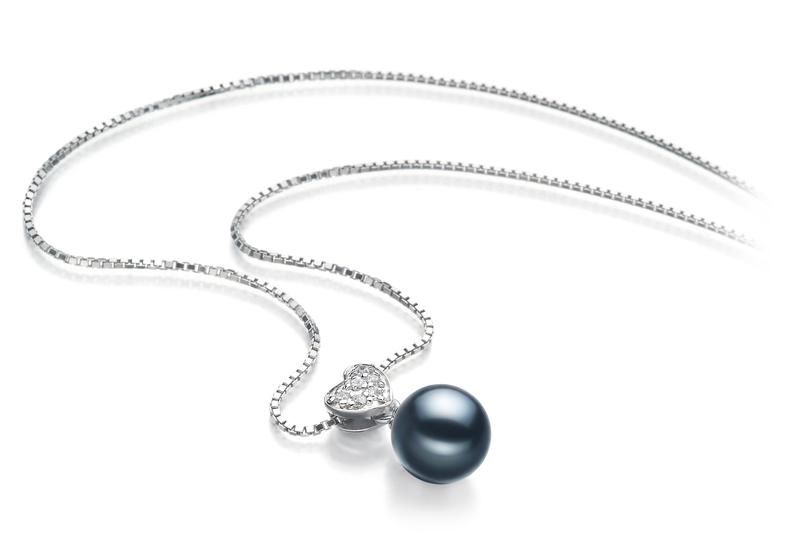 7-8mm AA Quality Japanese Akoya Cultured Pearl Pendant in Randy Black