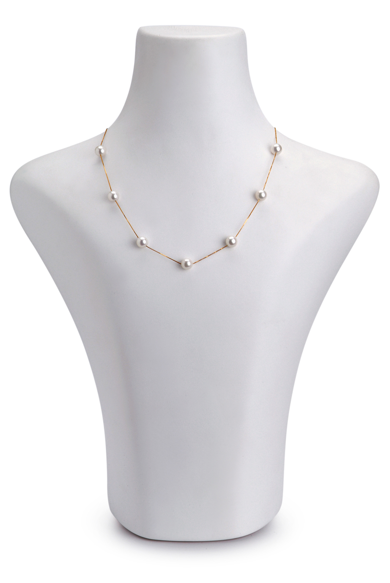 7-8mm AAA Quality Japanese Akoya Cultured Pearl Necklace in Tin Cup White