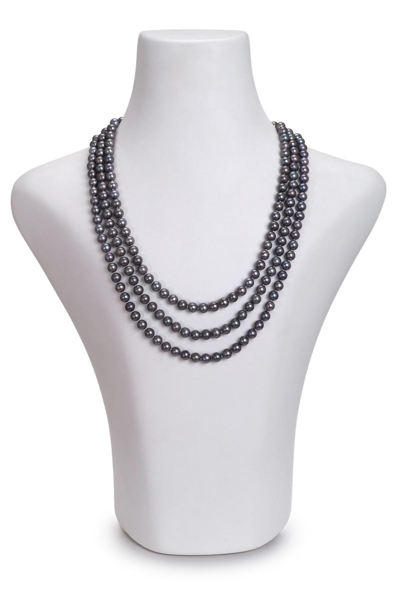 6-7mm AA Quality Freshwater Cultured Pearl Necklace in Triple Strand Black