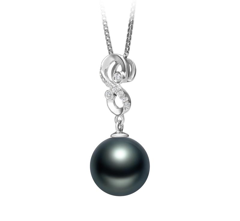 10-11mm AAA Quality Tahitian Cultured Pearl Pendant in Virginia Black