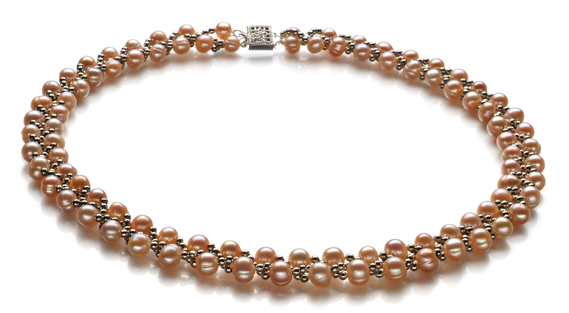 6-7mm A Quality Freshwater Cultured Pearl Set in Weave Pink