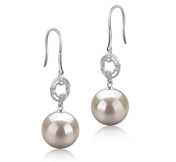 10-11mm AAAA Quality Freshwater Cultured Pearl Earring Pair in Adelle White