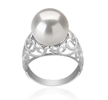 12-13mm AA+ Quality Freshwater - Edison Cultured Pearl Ring in Alva White