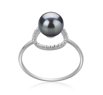 6-7mm AAAA Quality Freshwater Cultured Pearl Ring in Andy Black