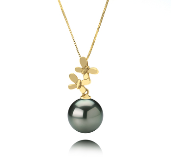10-10.5mm AAA Quality Tahitian Cultured Pearl Pendant in Barbara Black