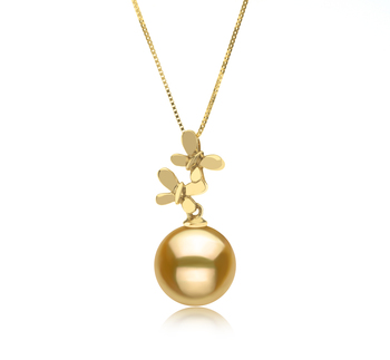 10-11mm AAA Quality South Sea Cultured Pearl Pendant in Barbara Gold