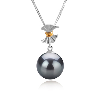 9-10mm AAA Quality Tahitian Cultured Pearl Pendant in Belva Black