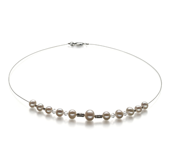 6-10mm A Quality Freshwater Cultured Pearl Necklace in Bertha White