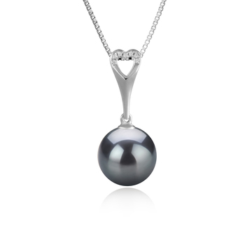10-11mm AAA Quality Tahitian Cultured Pearl Pendant in Bunny Black
