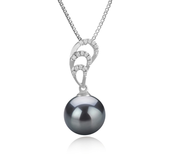 10-11mm AAA Quality Tahitian Cultured Pearl Pendant in Camille Black