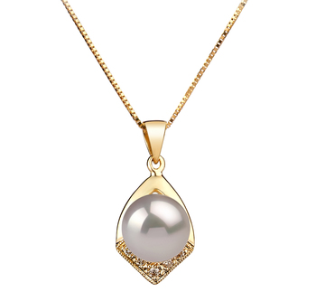 7-8mm AAA Quality Japanese Akoya Cultured Pearl Pendant in Catrina White