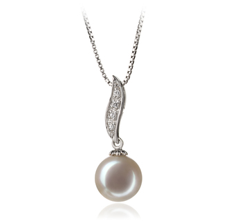 9-10mm AAA Quality Freshwater Cultured Pearl Pendant in Clementina White