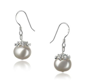 8-9mm A Quality Freshwater Cultured Pearl Earring Pair in Connor White