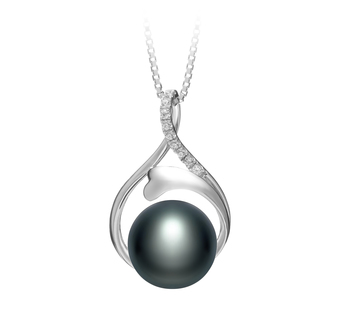 10-11mm AAA Quality Freshwater Cultured Pearl Pendant in Daiya Black
