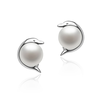 5-6mm AAA Quality Freshwater Cultured Pearl Earring Pair in Dolphin White