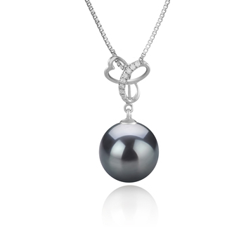 10-11mm AAA Quality Tahitian Cultured Pearl Pendant in Dorothy Black