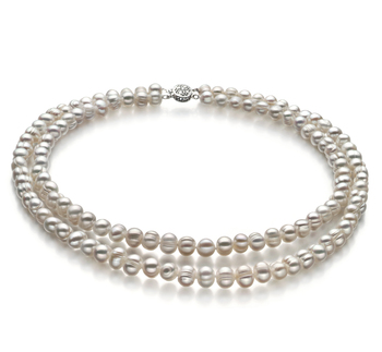 6-7mm A Quality Freshwater Cultured Pearl Necklace in Double Strand White