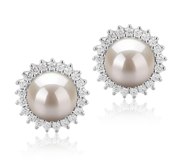 7-8mm AAAA Quality Freshwater Cultured Pearl Earring Pair in Dreama White