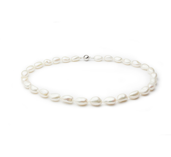 10-11mm Baroque Quality Freshwater Cultured Pearl Necklace in Drop White