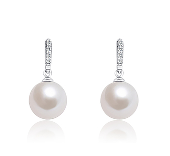 12-13mm AA+ Quality Freshwater - Edison Cultured Pearl Earring Pair in Edison Dangle White