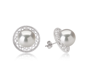 12-13mm AA+ Quality Freshwater - Edison Cultured Pearl Earring Pair in Edison Yalena White