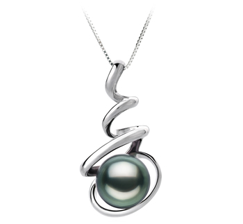 8-9mm AAA Quality Tahitian Cultured Pearl Pendant in Eldova Black