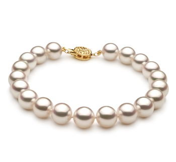 8.5-9mm Hanadama - AAAA Quality Japanese Akoya Cultured Pearl Bracelet in Hanadama 8-inch White
