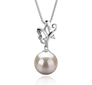 9-10mm AAAA Quality Freshwater Cultured Pearl Pendant in Braith White