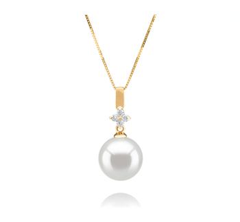 10-11mm AAA Quality South Sea Cultured Pearl Pendant in Hilda White