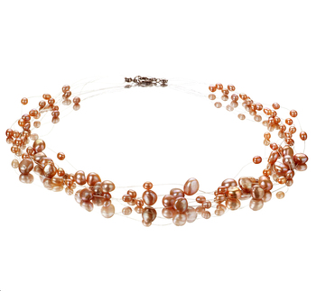 4-8mm A Quality Freshwater Cultured Pearl Necklace in Illusion Pink