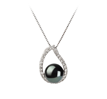 9-10mm AA Quality Freshwater Cultured Pearl Pendant in Isabella Black